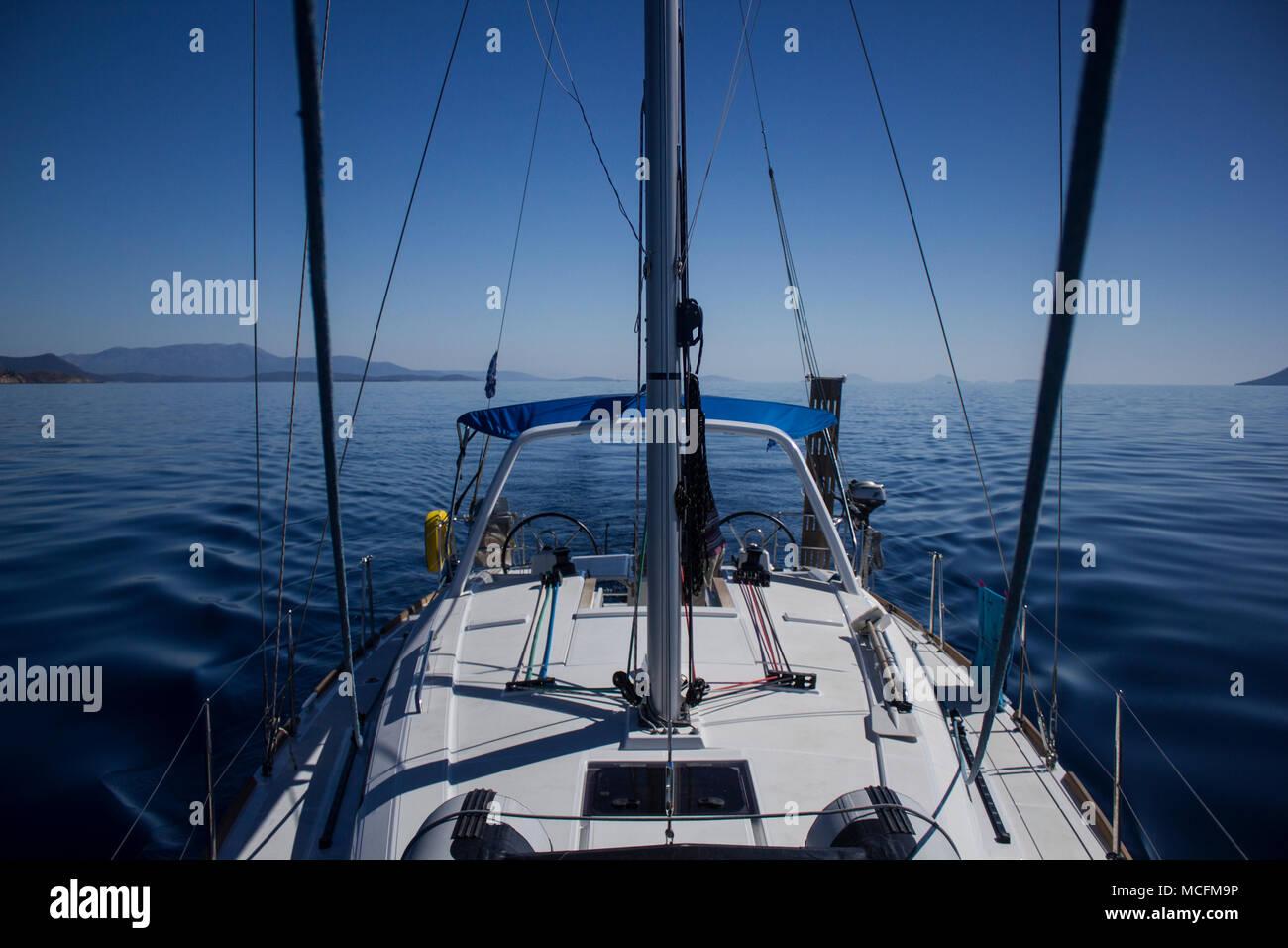 Sailing boat at sea near Ionian Islands - Stock Image