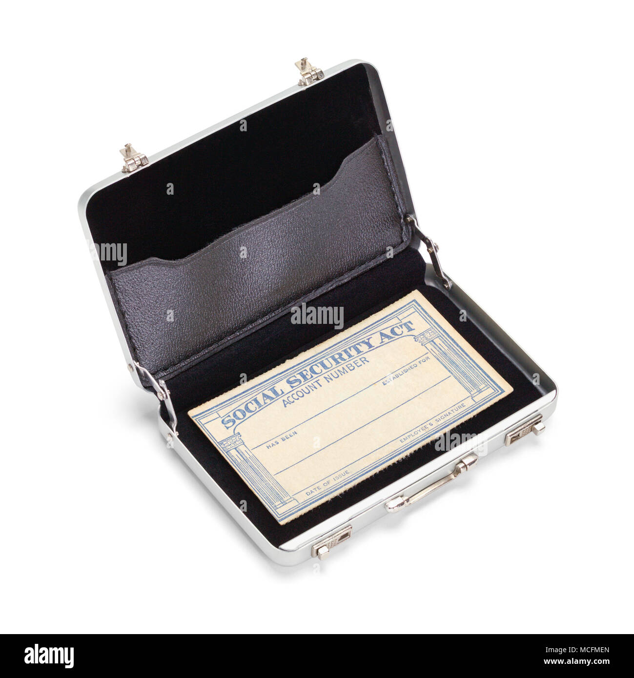 Small Briefcase with Social Security Card Isolated on White. - Stock Image