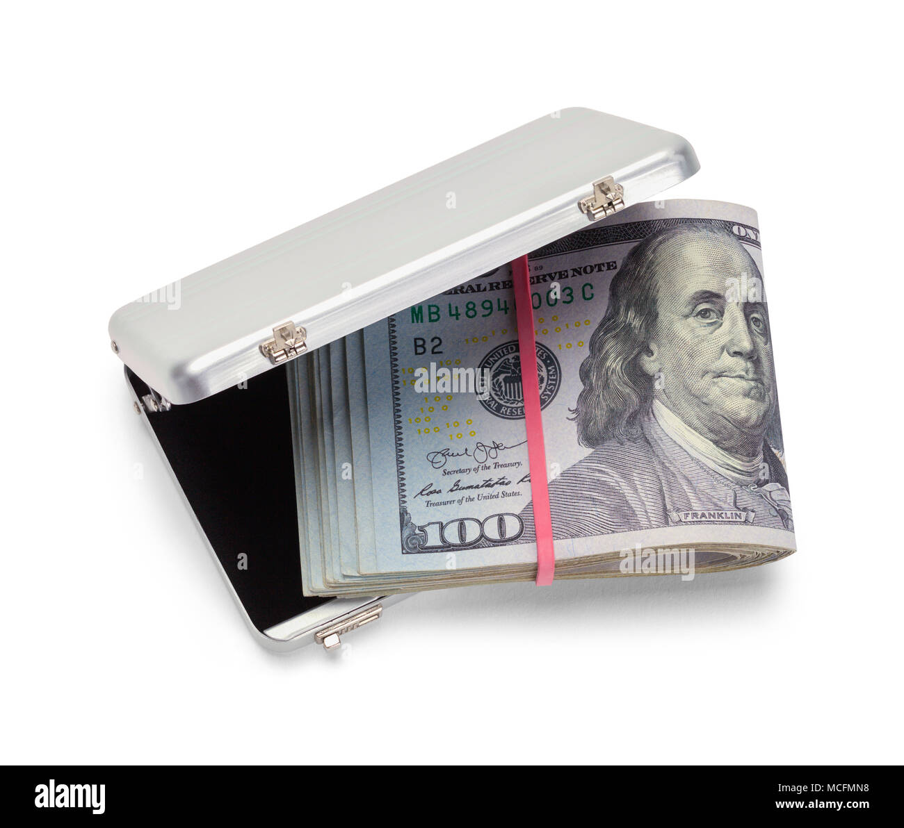 Grey Briefcase Full of Money Isolated in White Background. - Stock Image