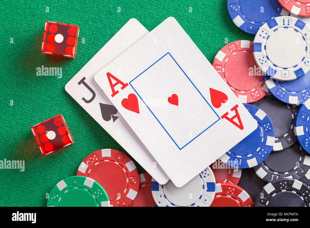 Black Jack Cards with Dice and Casino Chips. Stock Photo