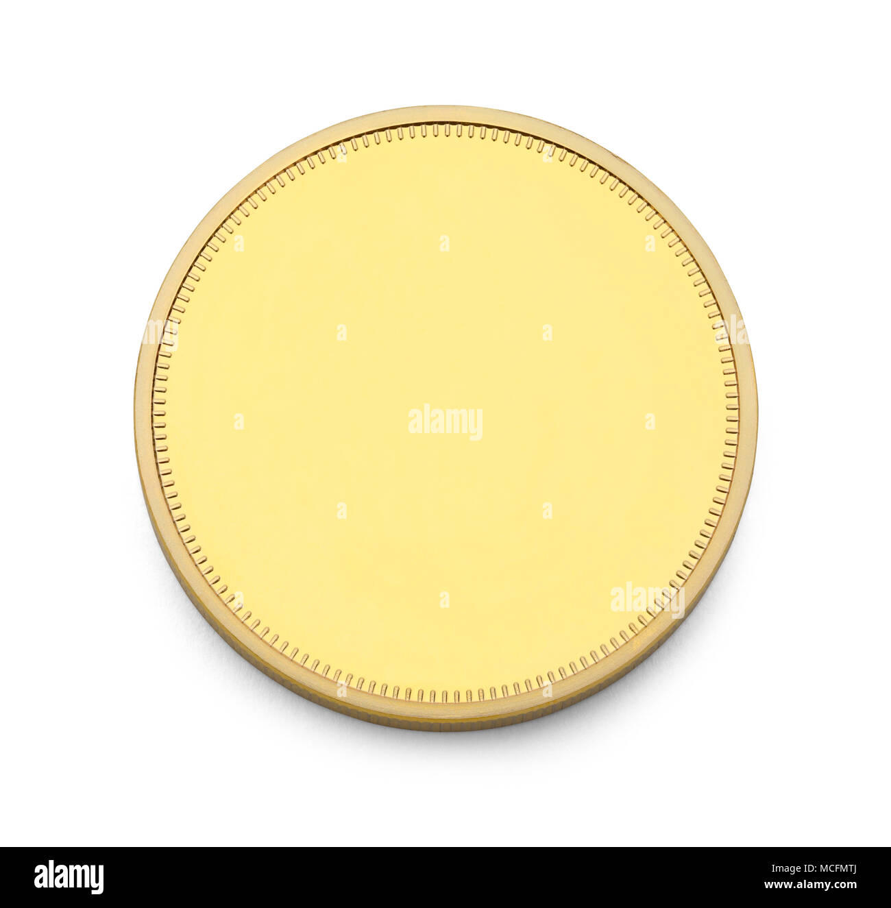 Gold Coin with Copy Space Isolated on White Background. - Stock Image