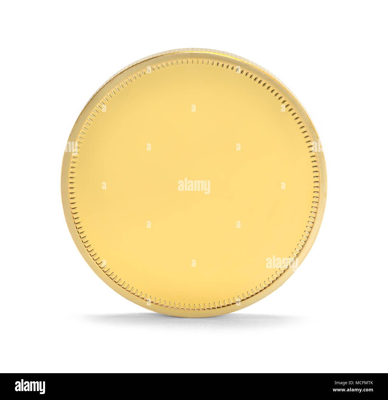 Single Gold Coin Upright Isolated on a White Background. - Stock Image
