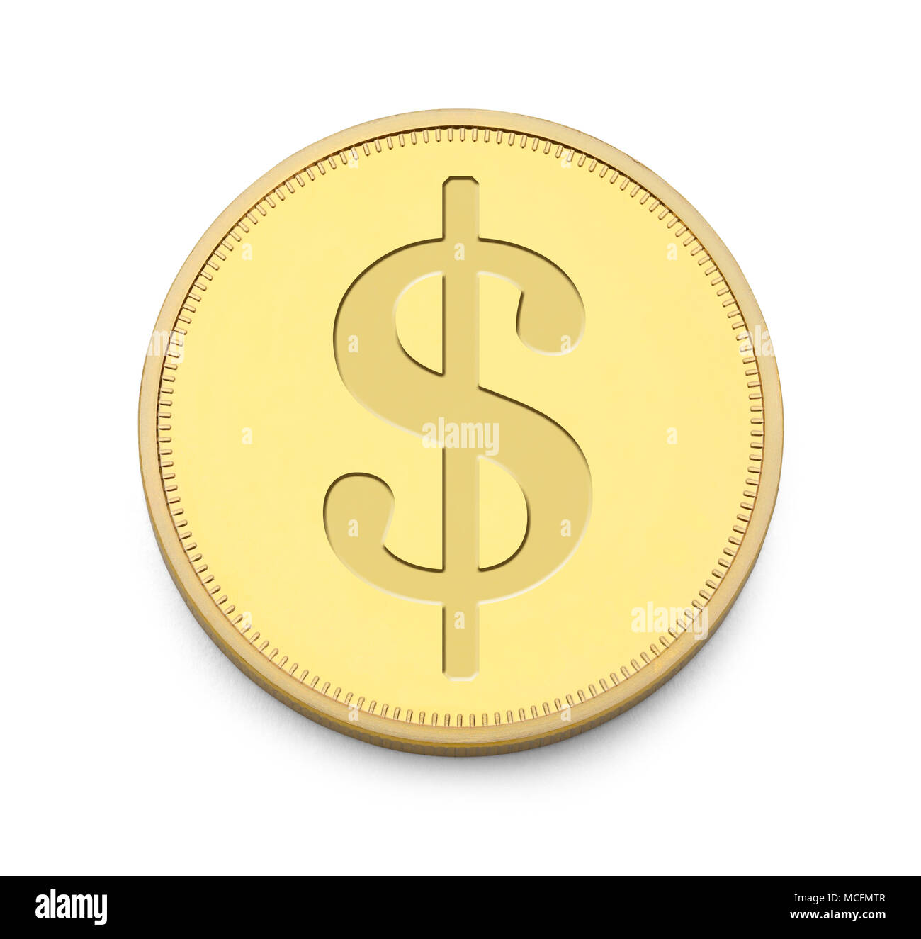 Gold Coin with Money Symbol Isolated on White Background. - Stock Image