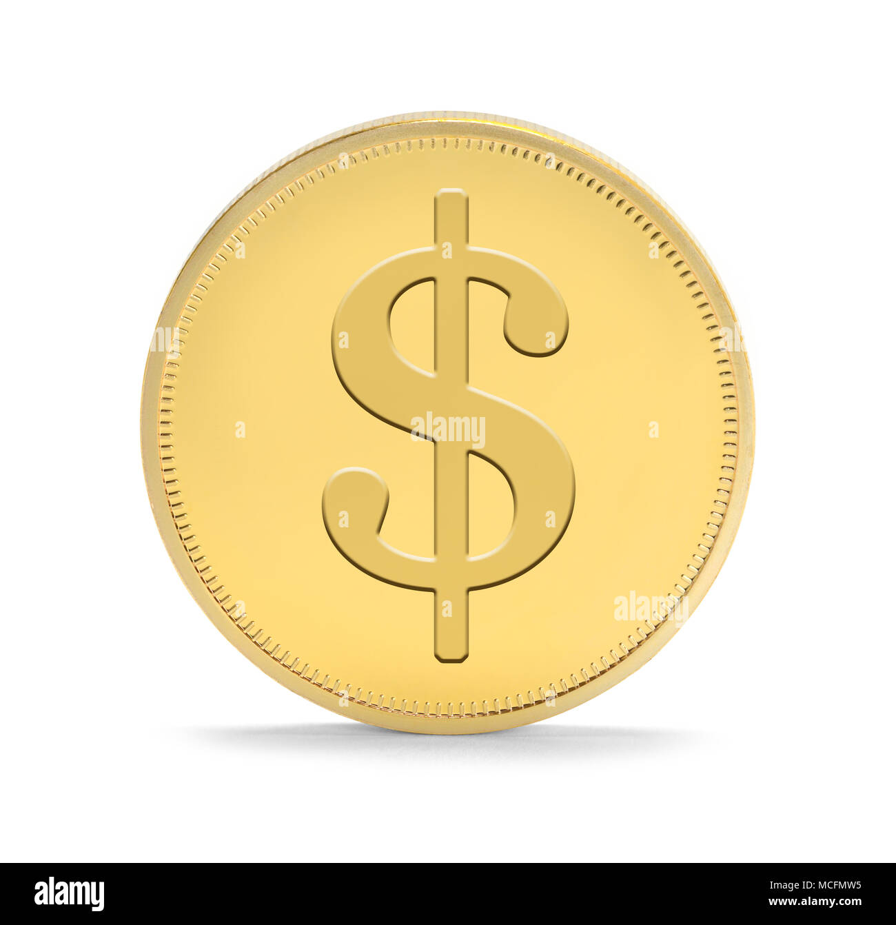 Single Gold Coin with Money Symbol Upright Isolated on a White Background. - Stock Image