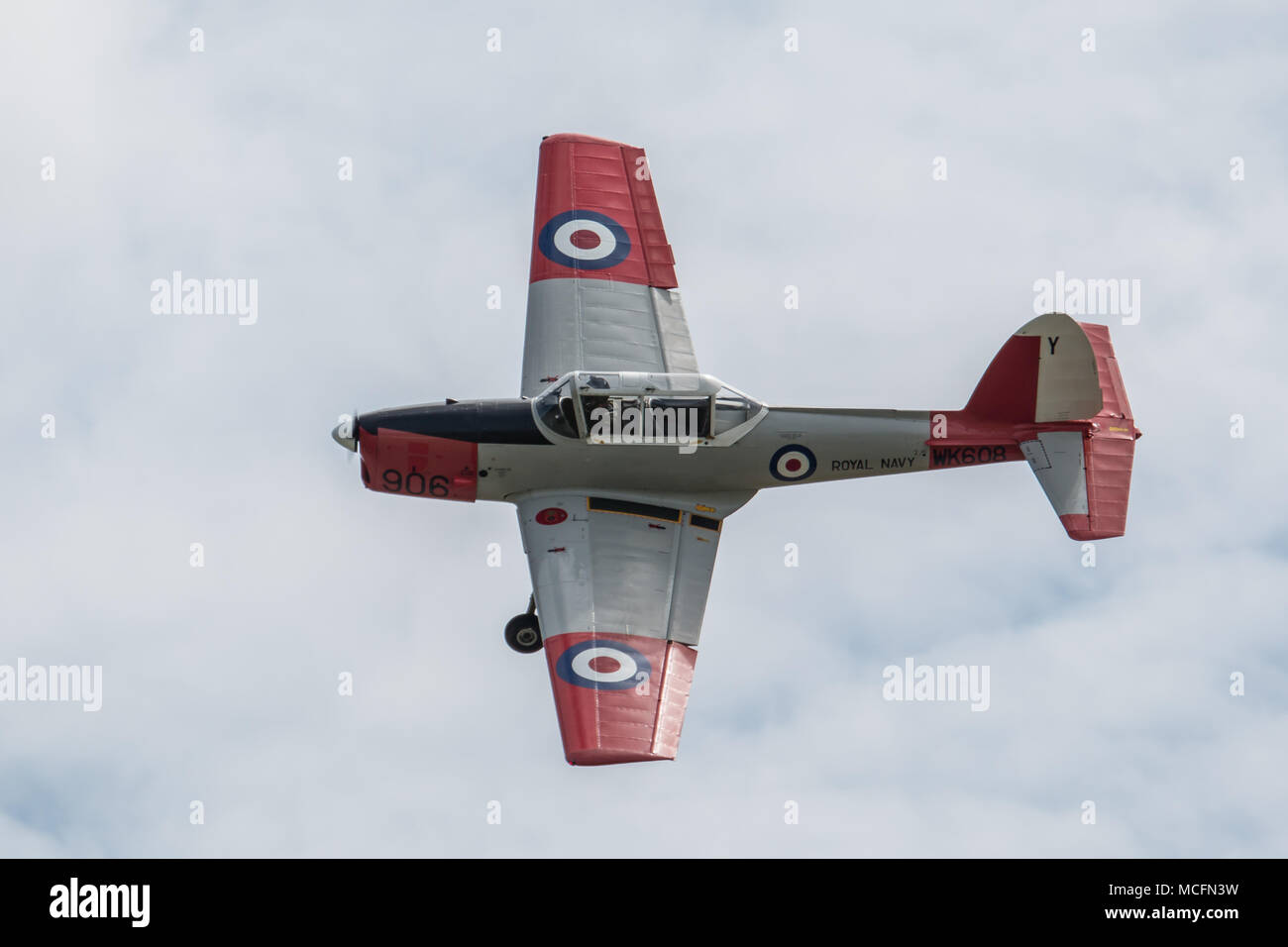 The Royal Navy Historic Flights DHC Chipmunk T mk 10 which is not normally seen during public display but is used for training by the RNHF/ - Stock Image