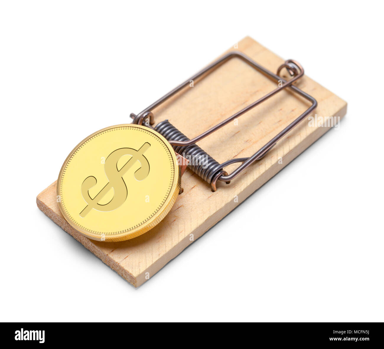 Gold Money Coin with a Trap Isolated on a White Background. - Stock Image