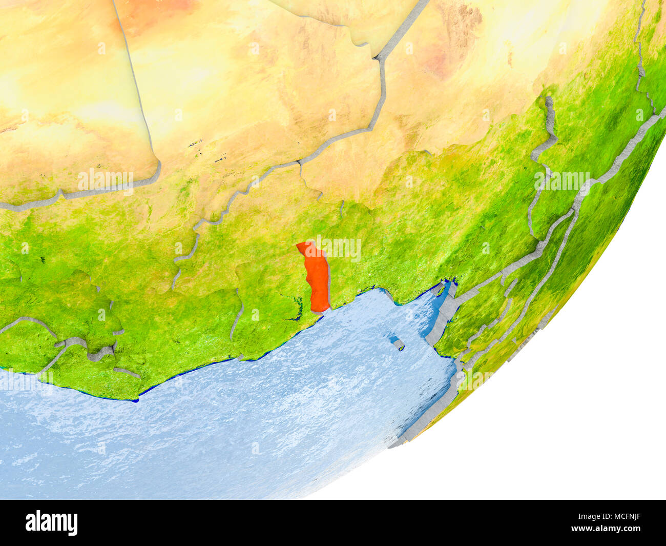3d render of togo on political globe with embossed countries with 3d render of togo on political globe with embossed countries with real land surface and water in place of ocean 3d illustration elements of this ima gumiabroncs Choice Image