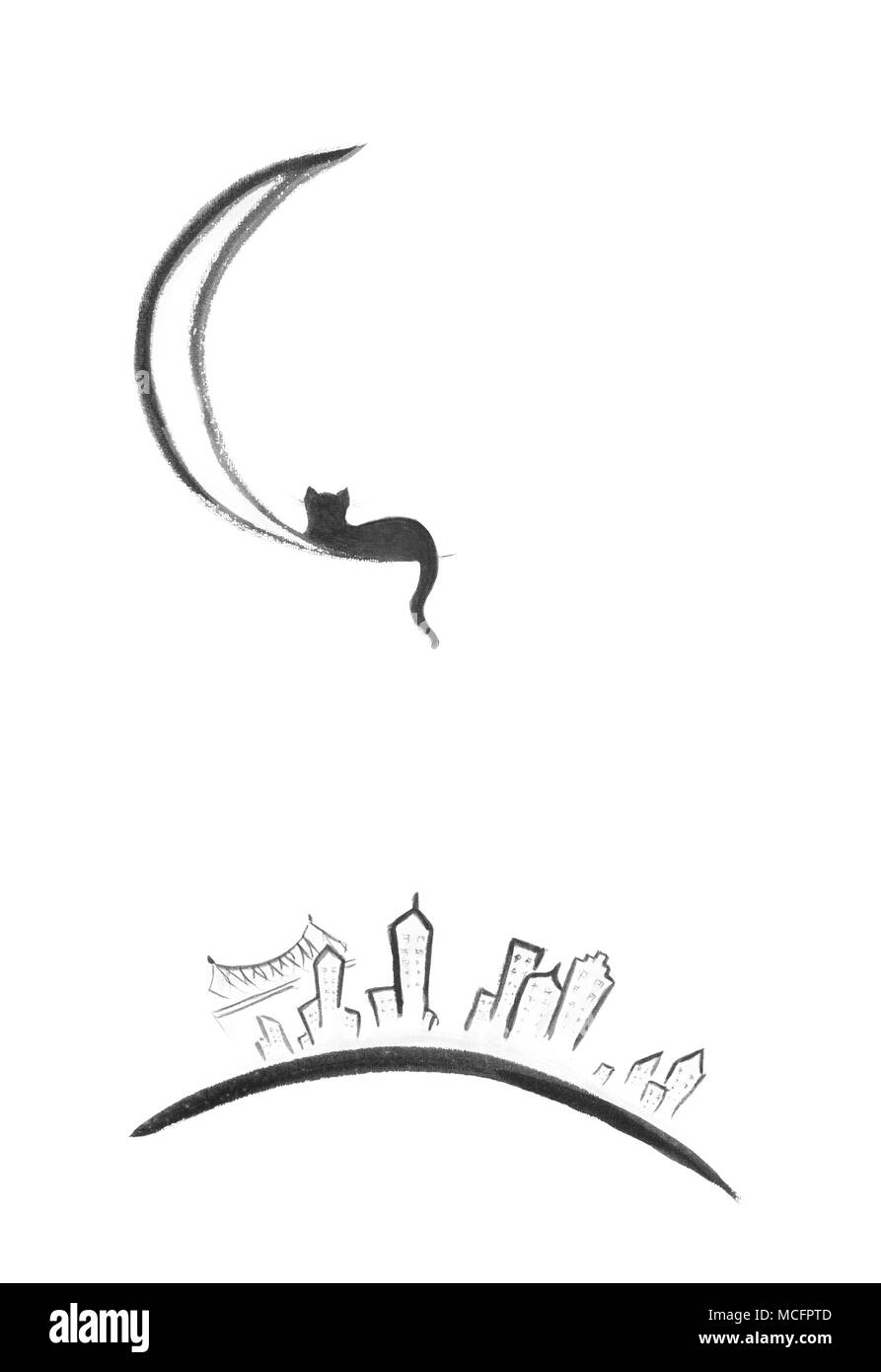 Black cat lying on the moon above New York city at night, artistic oriental style illustration, Sumi-e painting based design isolated on white backgro - Stock Image