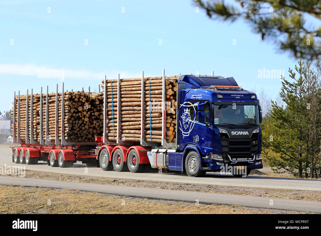 LIETO, FINLAND - APRIL 12, 2018: Blue Scania R730 logging truck on test drive during Scania Tour 2018 in Turku. - Stock Image