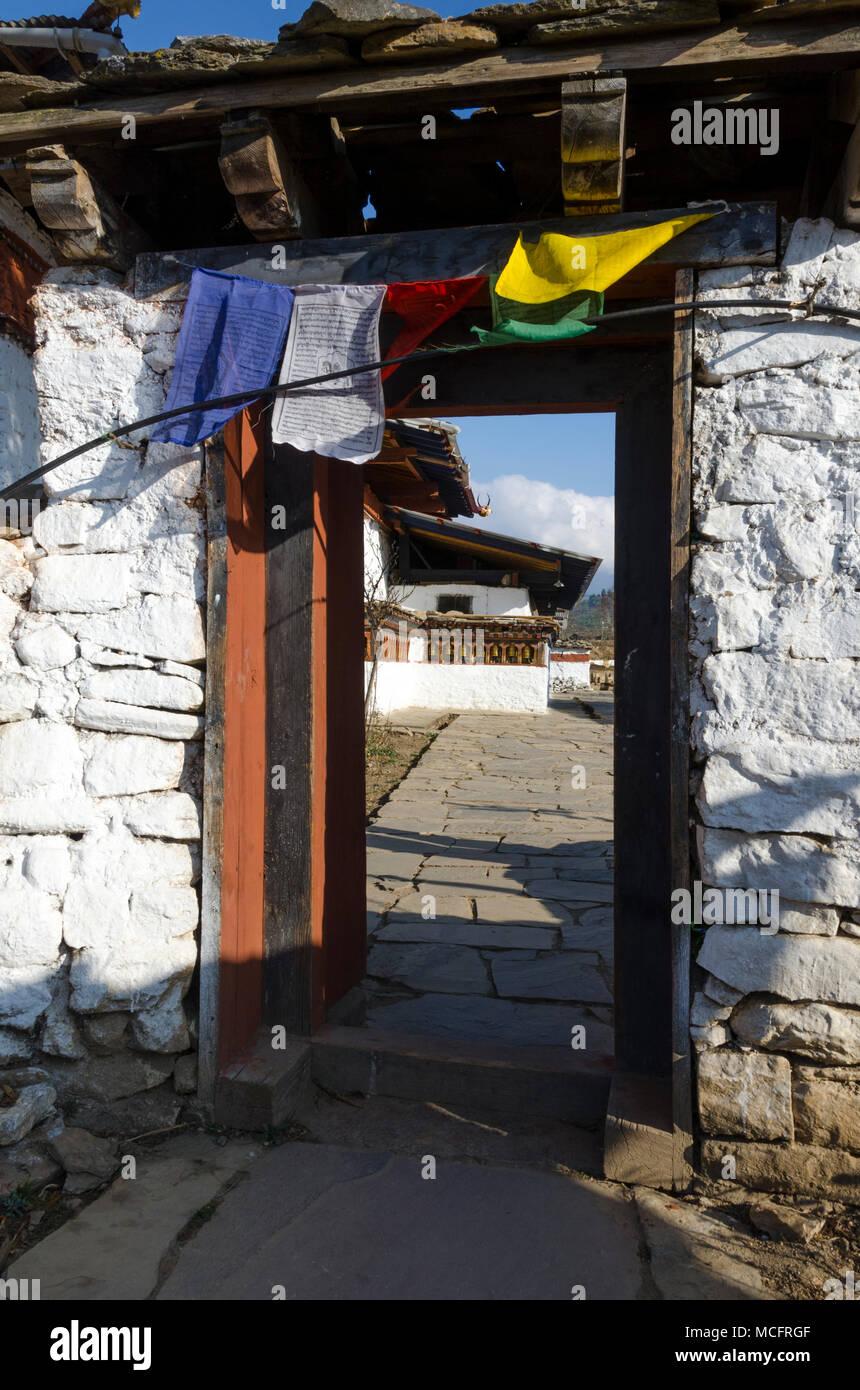 Doorway at Kyichu Lhakhang Temple near Paro, Bhutan - Stock Image
