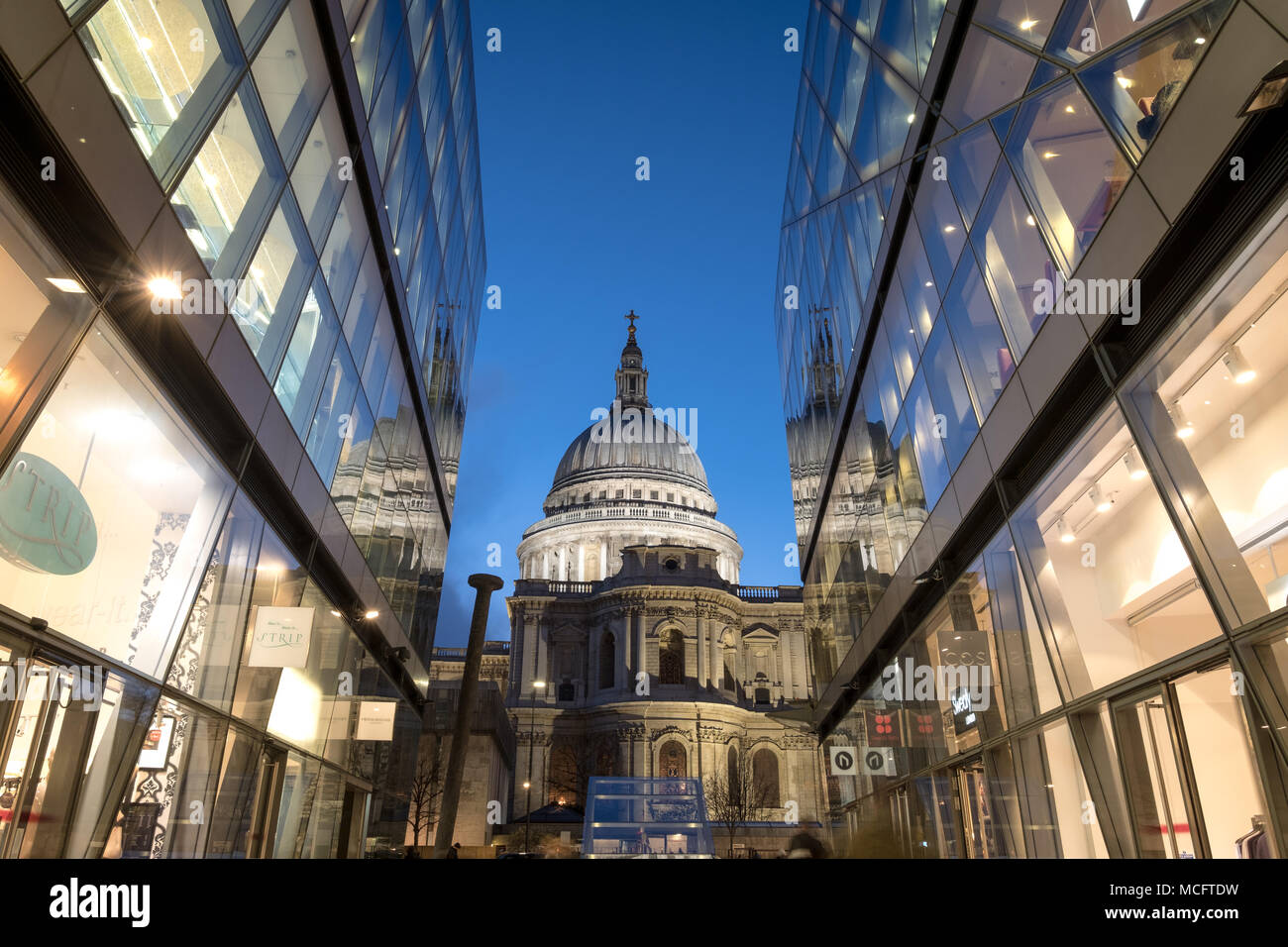 View of the dome of St Paul's Cathedral. Photographed at Blue Hour from One New Change, London UK Stock Photo
