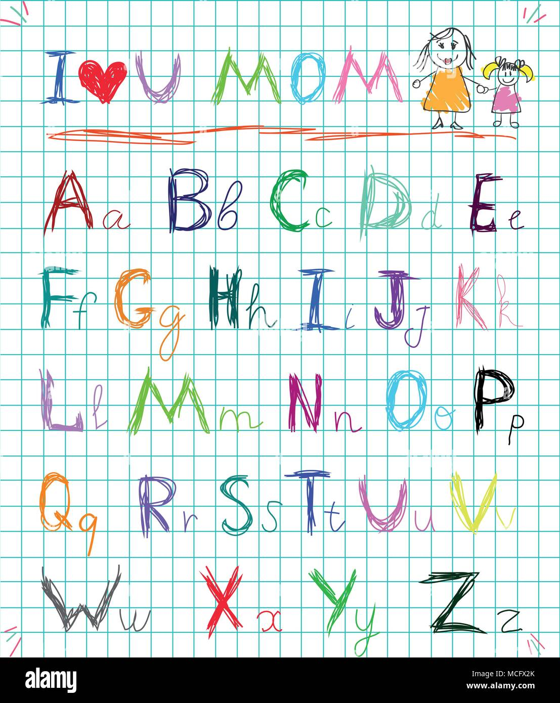 Multicolored baby sketch hand drawn doodle alphabet letters on squared notebook page isolated vector illustration with I love you mom headline and kid - Stock Vector