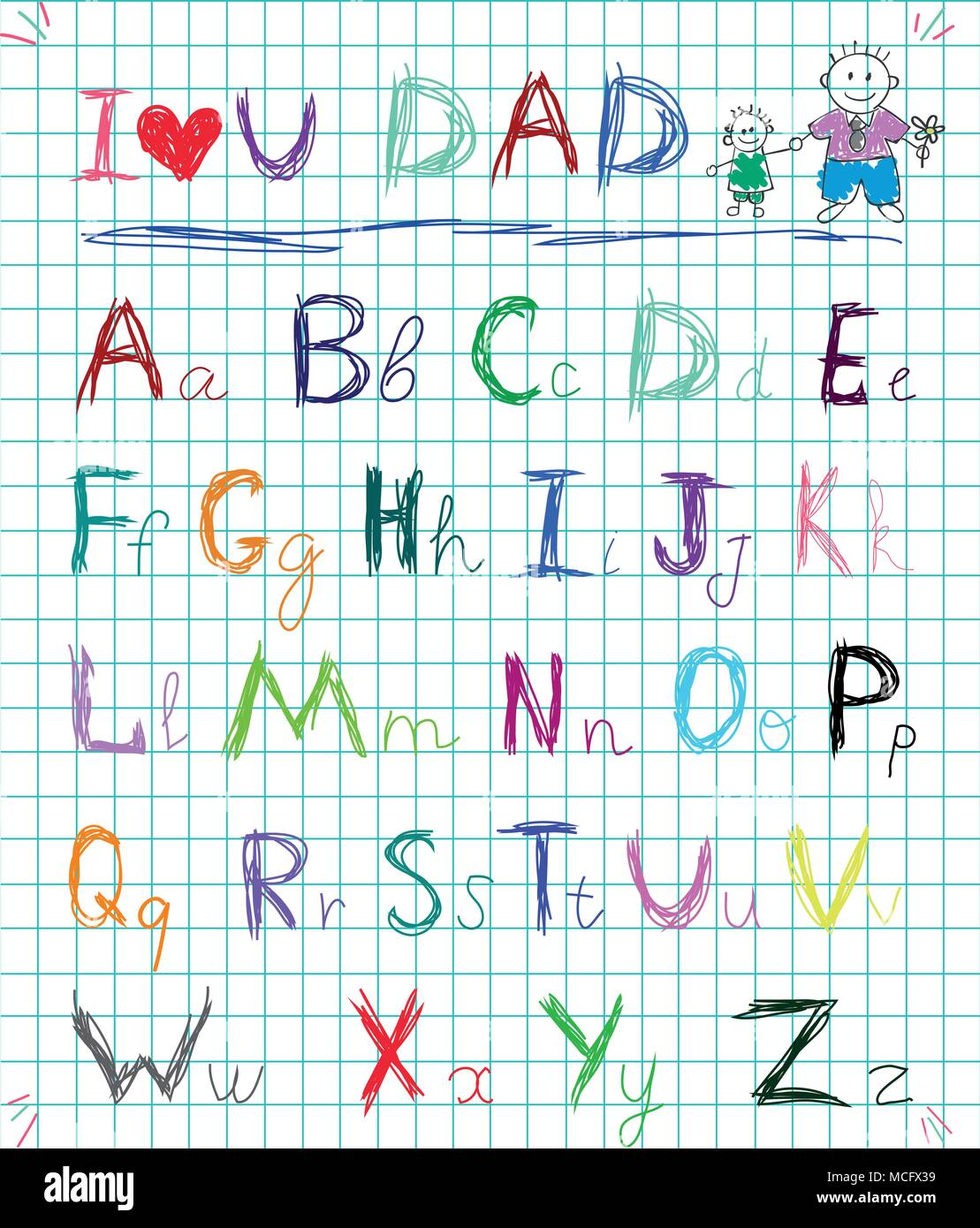 Multicolored baby sketch hand drawn doodle alphabet letters on squared notebook page isolated vector illustration with I love you dad headline and chi - Stock Vector
