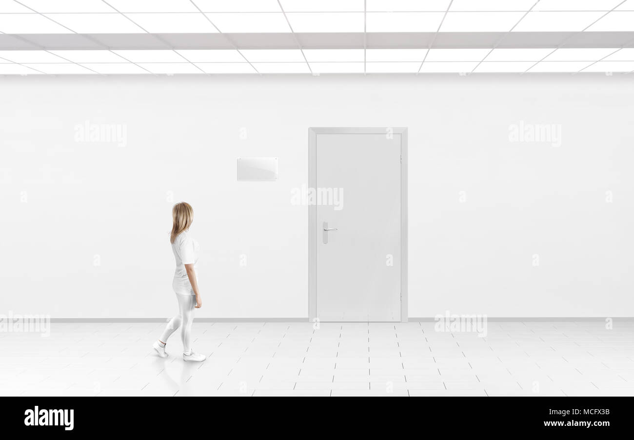 Woman Stand Near Door With Blank Glass Name Plate Mockup Door Sign - Door sign template