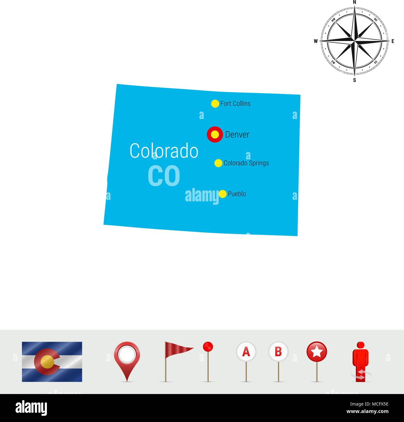 Colorado Vector Map Isolated On White Background Silhouette Of