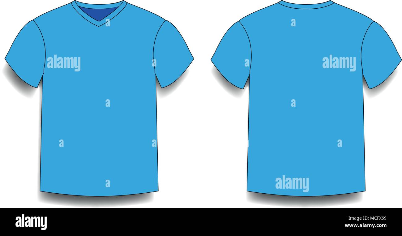 f5f21d8a Light blue, men's t-shirt template v-neck front and back side views. Vector  of male t-shirt wearing illustration isolated on transparent background.
