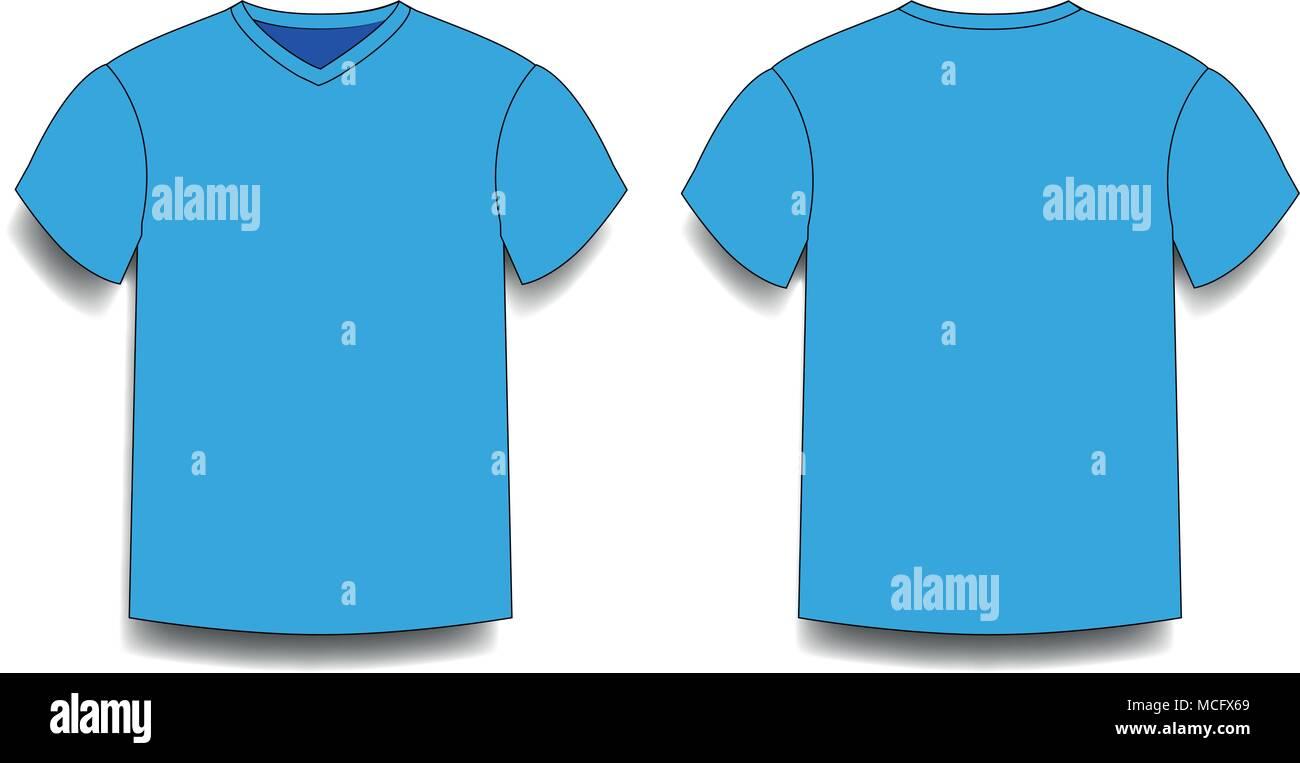Light Blue Men S T Shirt Template V Neck Front And Back Side Views