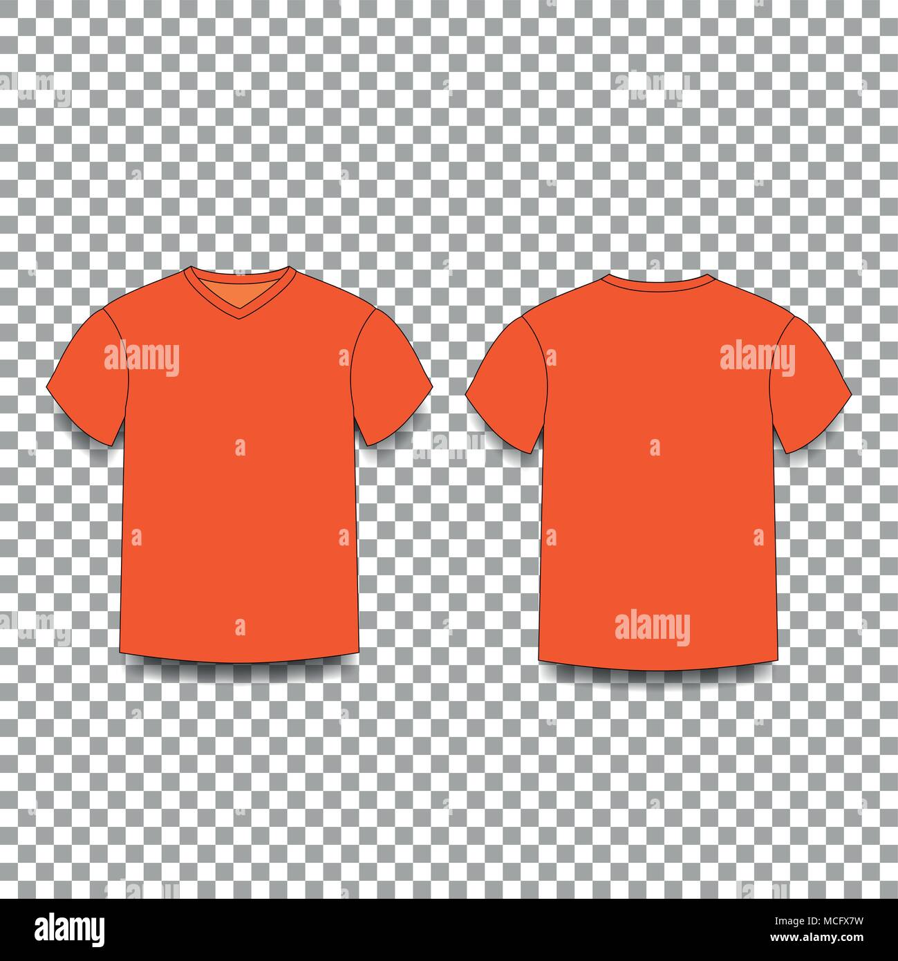 T Shirt Template Vector | Orange Men S T Shirt Template V Neck Front And Back Side Views