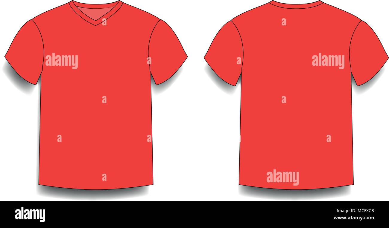 Red Mens T Shirt Template V Neck Front And Back Side Views Vector
