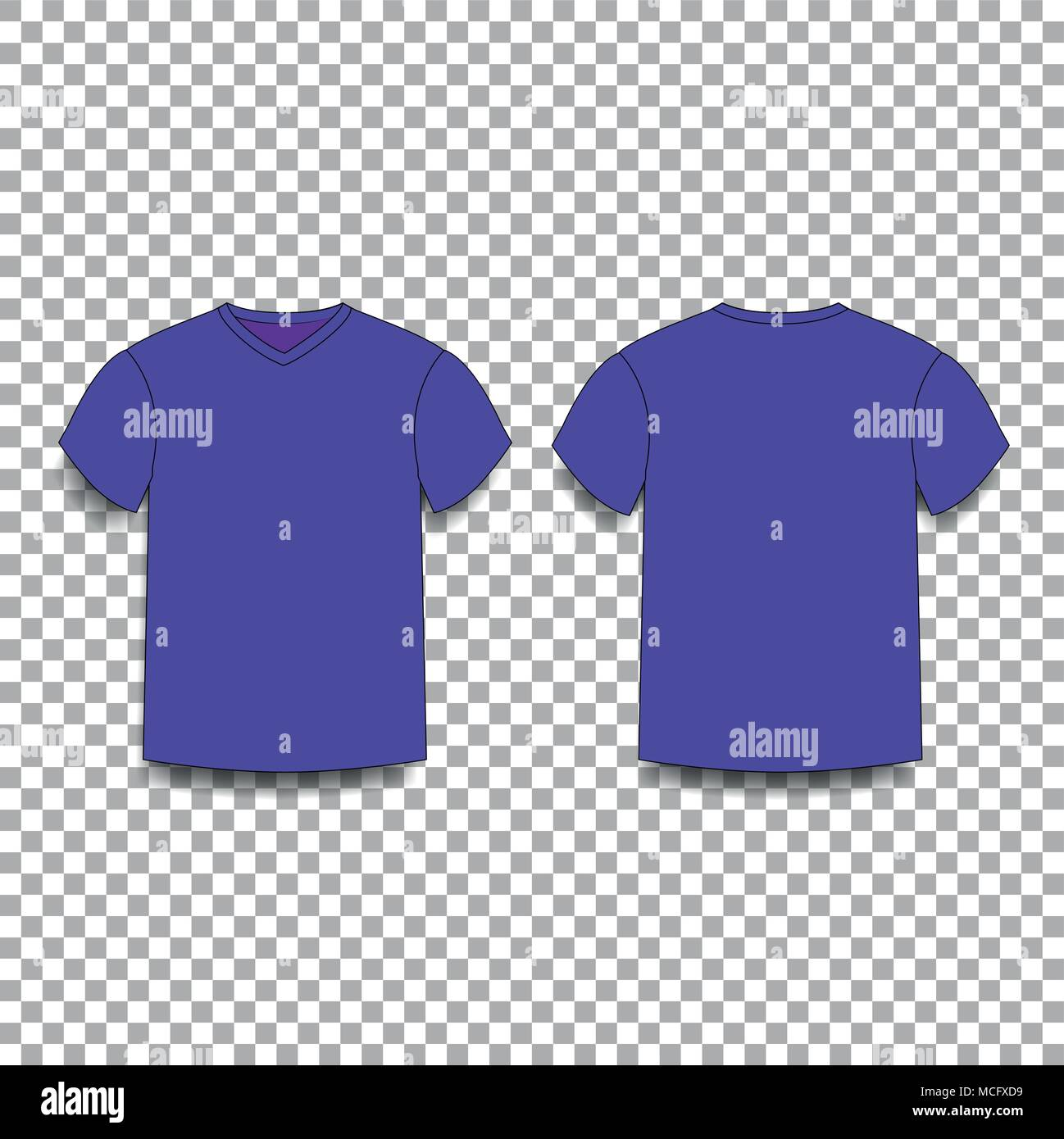 Violet Men S T Shirt Template V Neck Front And Back Side Views