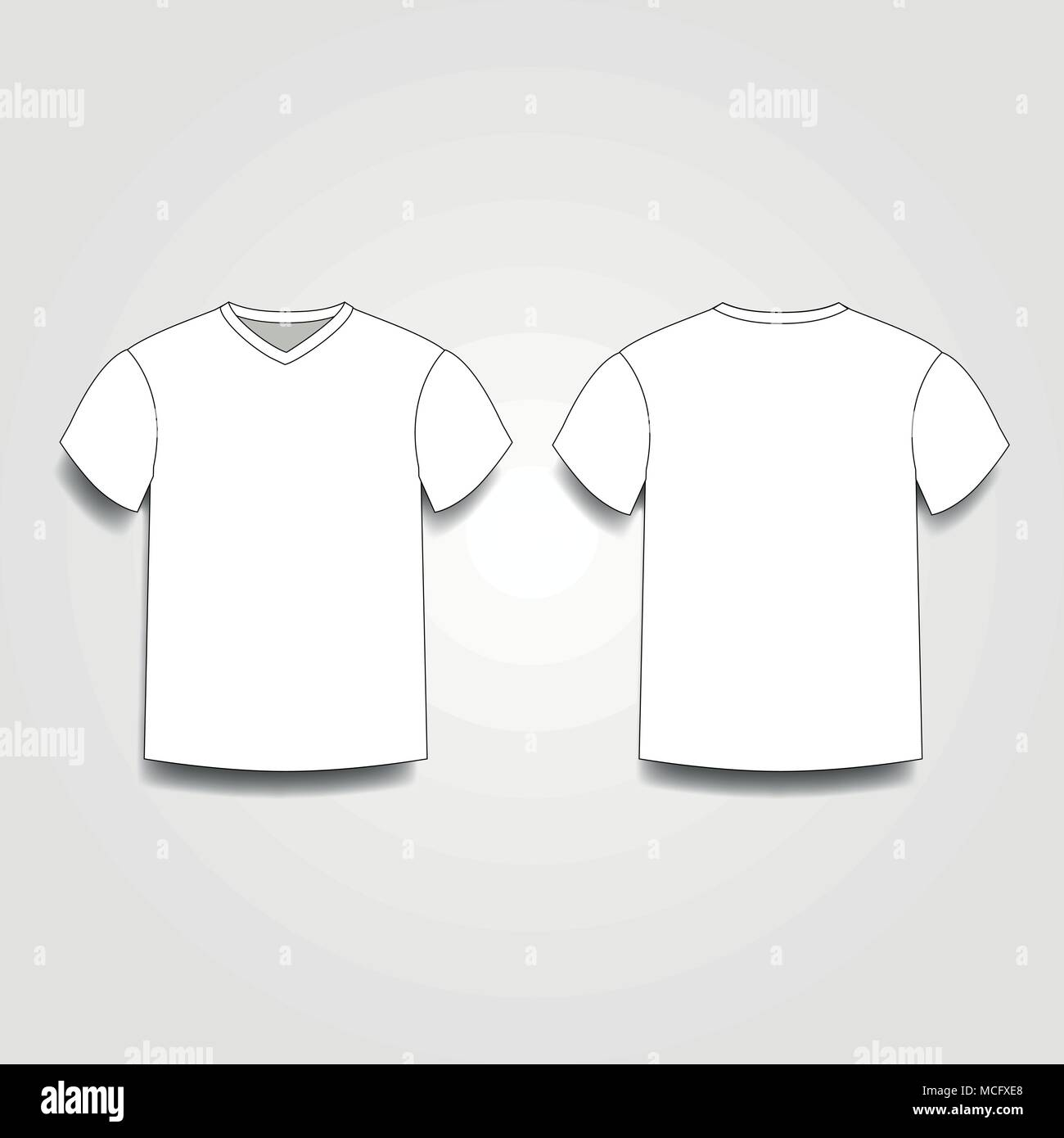 White Mens T Shirt Template V Neck Front And Back Side Views Vector Of Male Wearing Illustration Isolated On Background