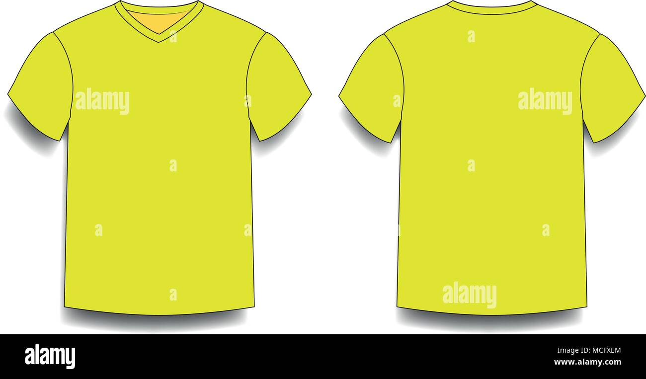 2fe3f5cb Yellow men's t-shirt template v-neck front and back side views. Vector of male  t-shirt wearing illustration isolated on white background.