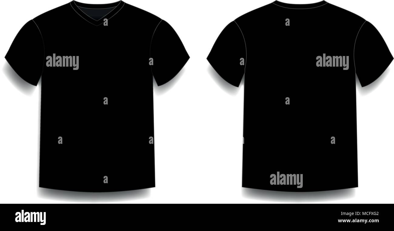 fb42bcbb1cc3 Black men's t-shirt template v-neck front and back side views. Vector of  male t-shirt wearing illustration isolated on white background.