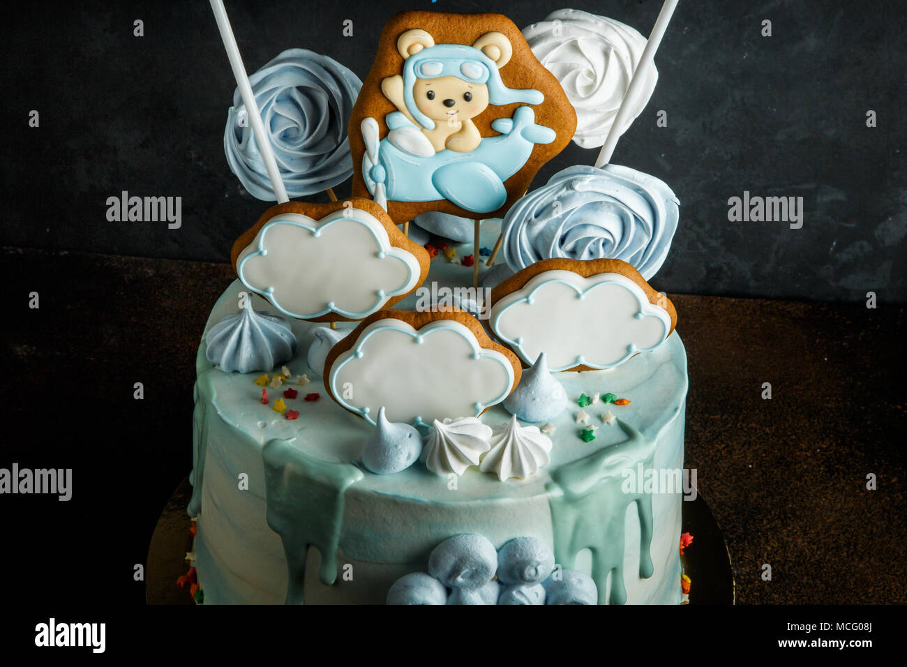 Swell Closeup Birthday Cake Decorated With Gingerbread Bizet And Zephyr Funny Birthday Cards Online Hetedamsfinfo