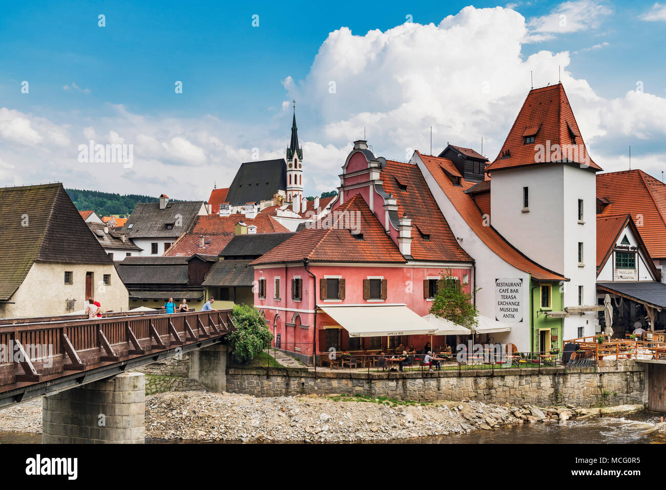 The Krumlov mill is located in the old town of Cesky Krumlov on the Vltava River, Bohemia, Jihocesky Kraj, Czech Republic, Europe - Stock Image