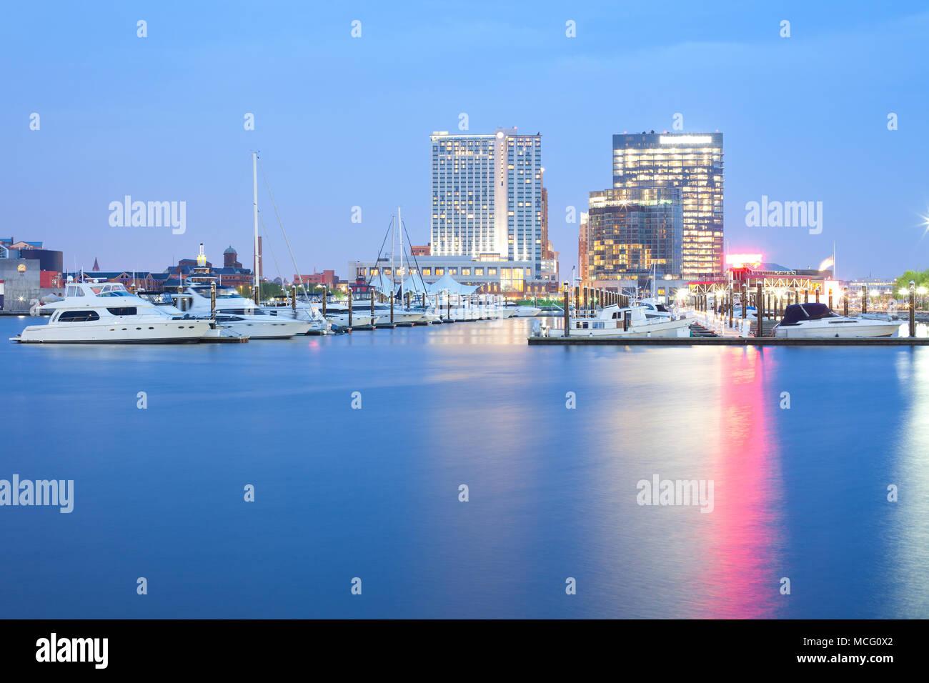 Marina at Inner Harbor in Baltimore at night, Maryland, USA Stock Photo