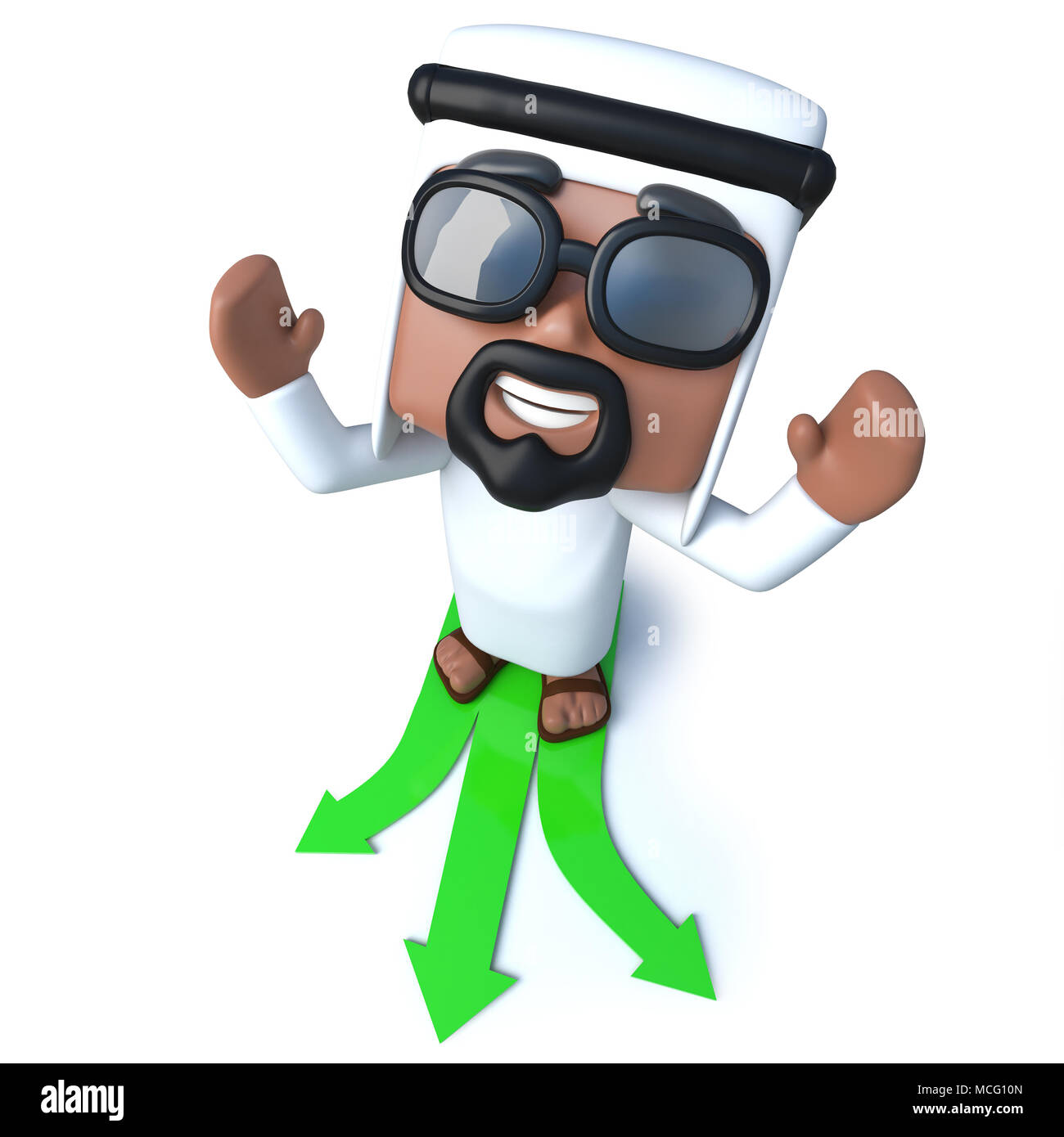 3d render of a funny cartoon Arab sheik character choosing which path to follow - Stock Image