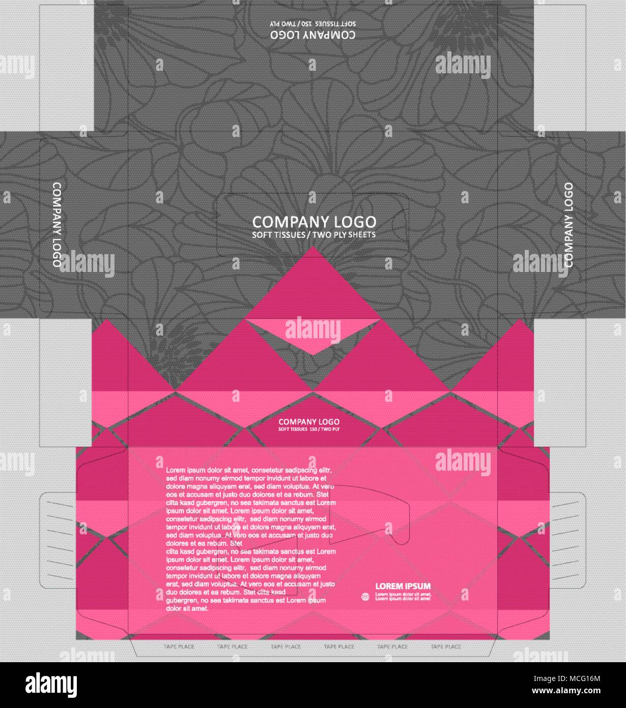 Outline floral pattern on tissue box with pink color accent. Tissue box template concept, template for Business Purpose, Place your text and logos and - Stock Image