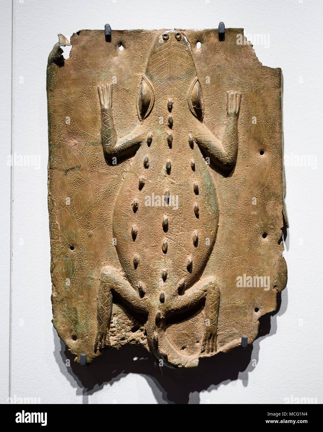 Berlin. Germany. Benin Bronzes. Representation of a crocodile, brass plaque. 16-17th century. From the royal court palace of the Kingdom of Benin. Eth - Stock Image