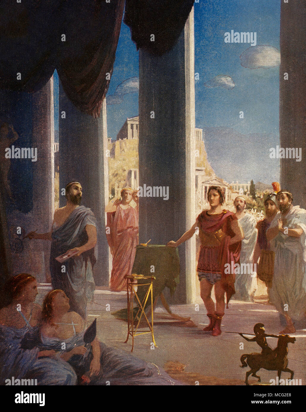 Apelles of Kos (4th century BC). Painter of ancient Greece. Alexander the Great visiting the artist Apelles in his workshop. Color illustration. - Stock Image