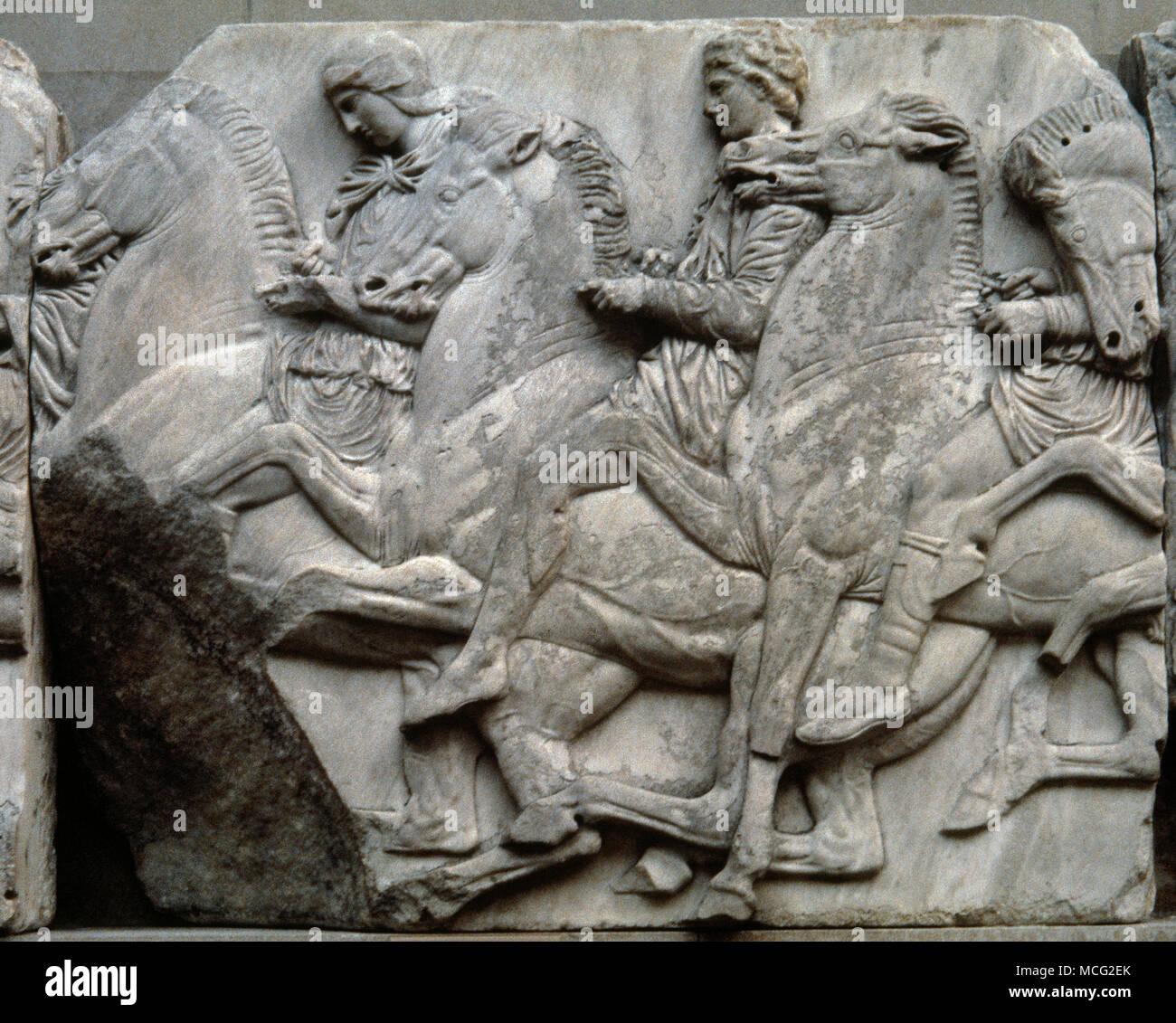 Parthenon. North Frieze. Horseman. Stone number N XLIV, Figures, N 122, N 123. 5th century BC. Pentelic marble. Acropolis of Athens. Greece. British Museum. London, United Kingdom. - Stock Image