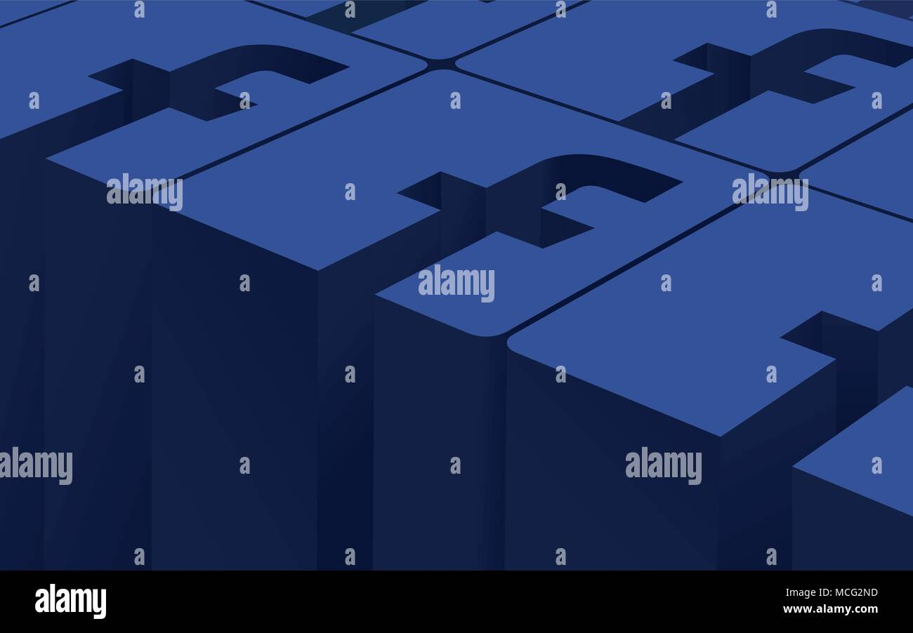 3D Signs Facebook Social Network Pattern, 3D vector Illustration - Stock Image
