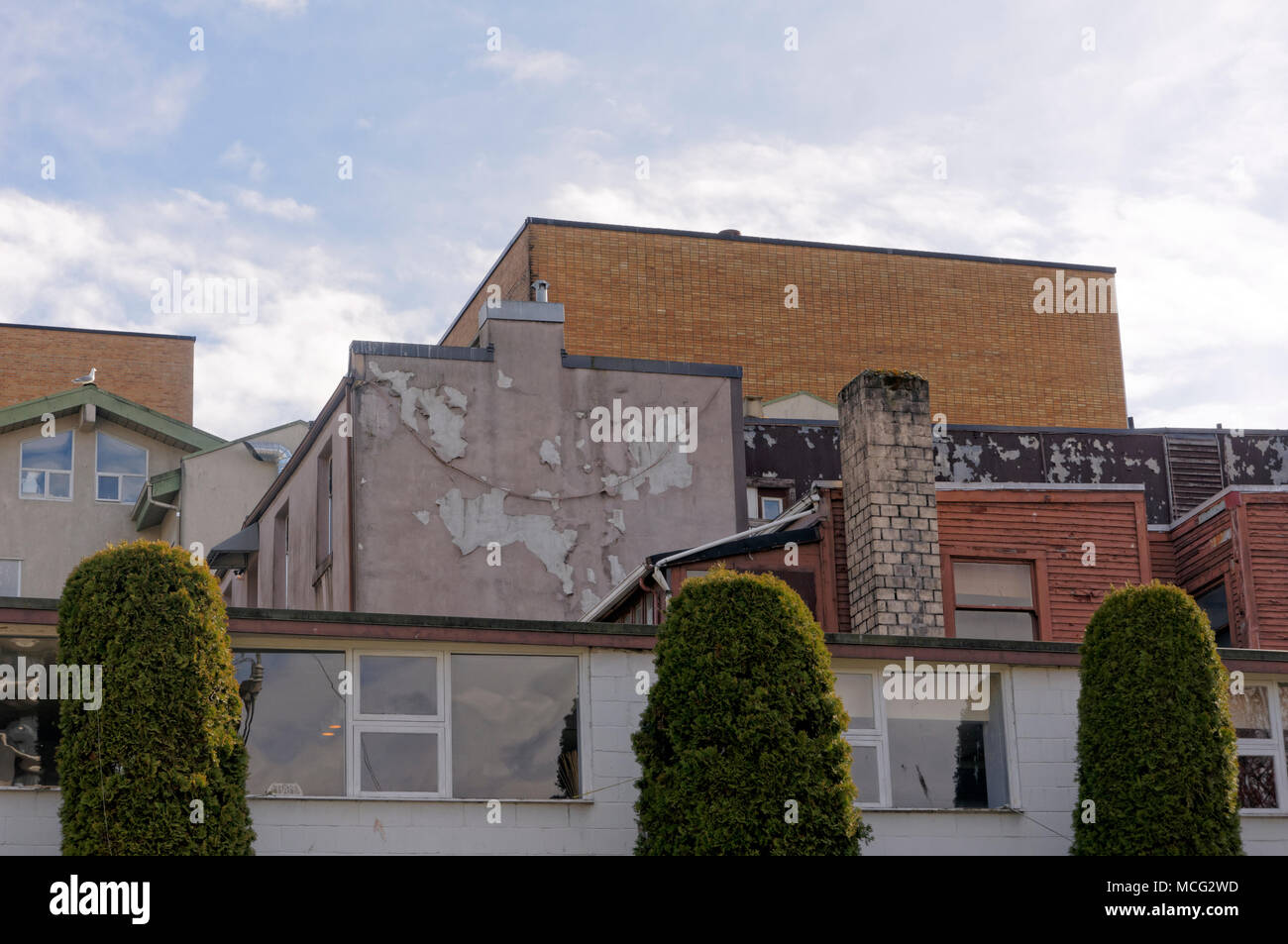 Jumble of eclectic architecture in the South Granville neighborhood of Vancouver, BC, Canada - Stock Image