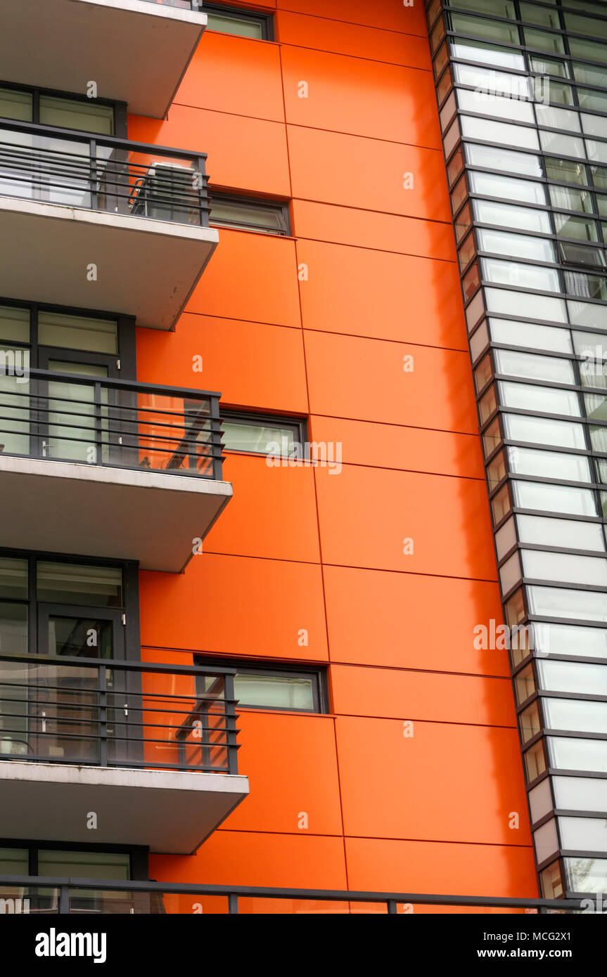 Architectural detail of a modern residential building in the Village on False Creek,  Vancouver, BC, Canada - Stock Image