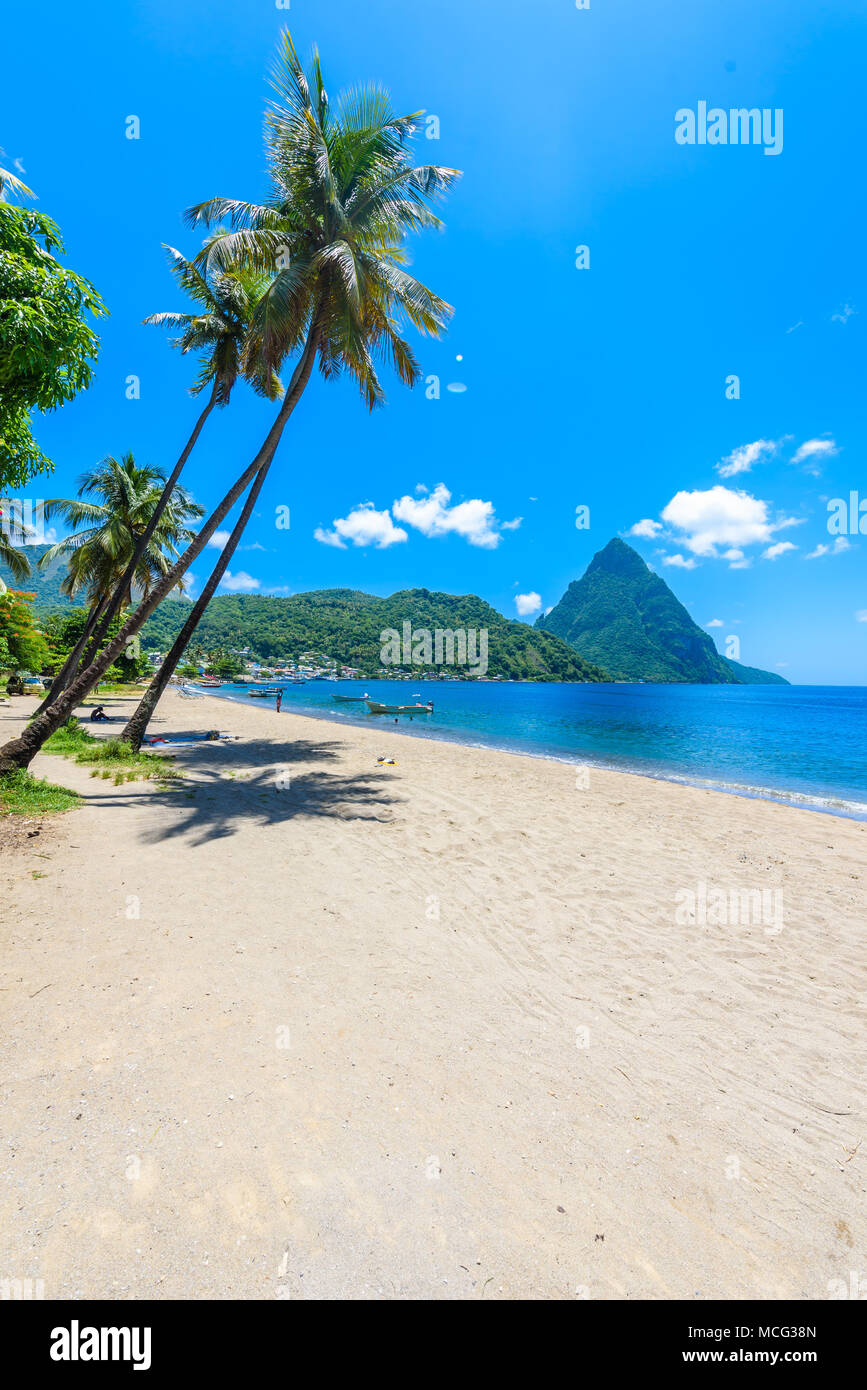 Paradise beach at Soufriere Bay with view to Piton at small town Soufriere in Saint Lucia, Tropical Caribbean Island. Stock Photo
