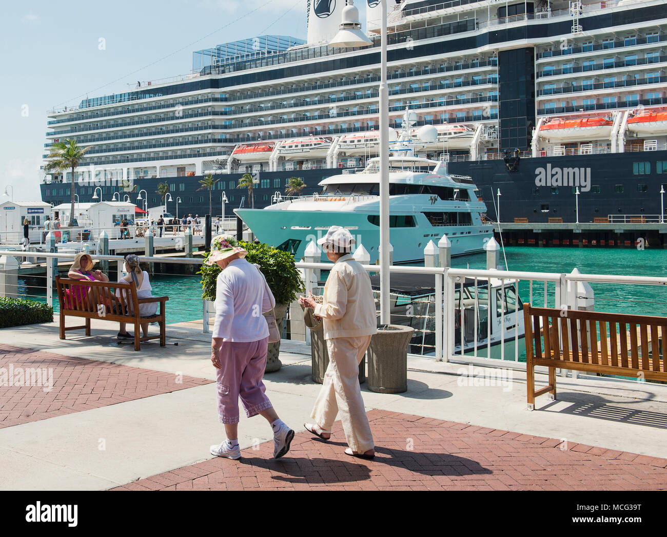 A cruise ship docked in the marina in Key West, Florida. - Stock Image