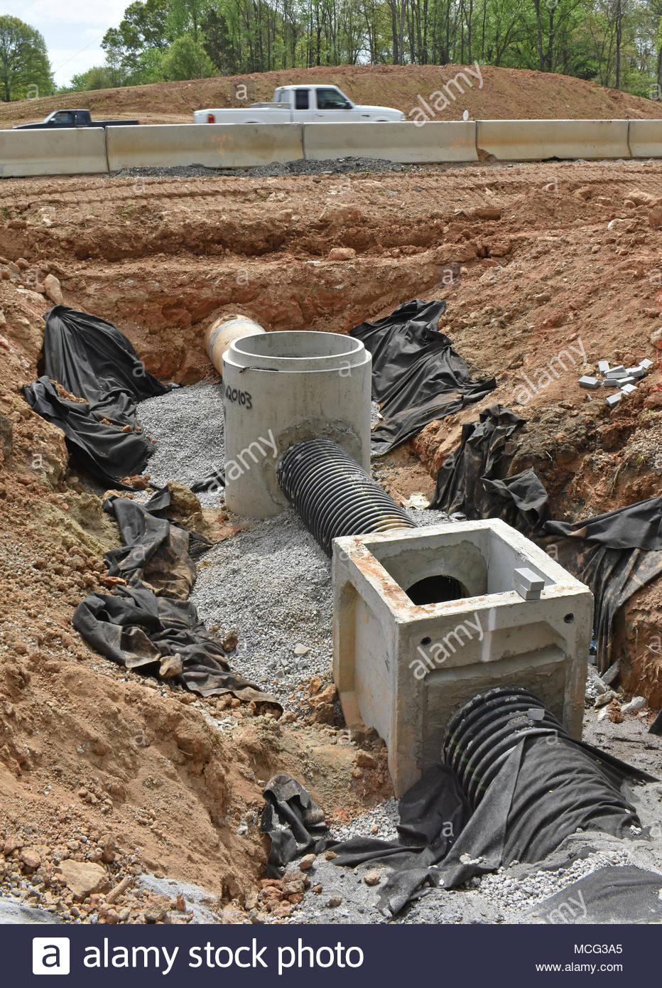 Drainage system under construction Stock Photo: 179833421