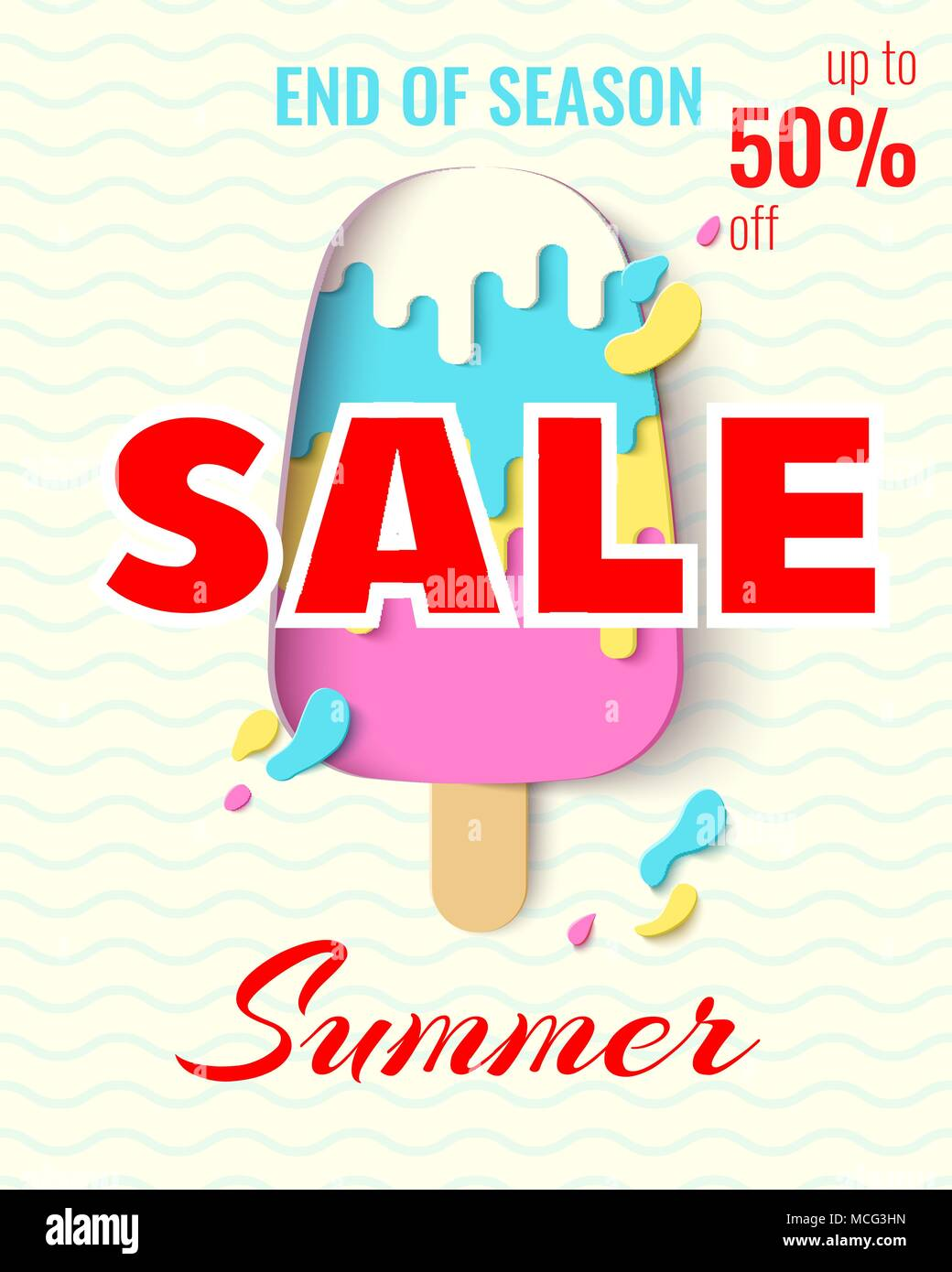 Summer Sale Template Banner Paper Cut Ice Cream Vector Background