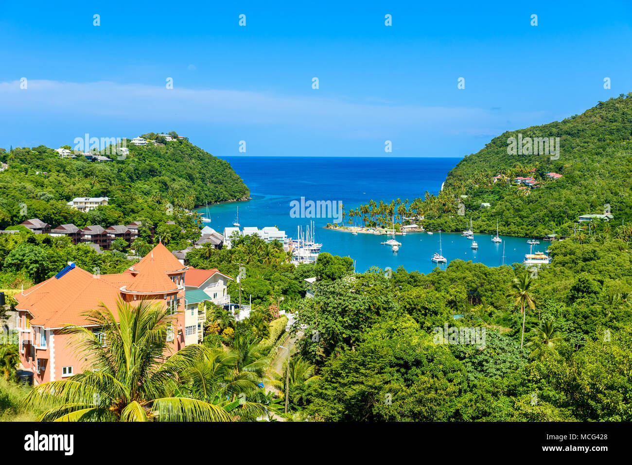 Marigot Bay, Saint Lucia, Caribbean. Tropical bay and beach in exotic and paradise landscape scenery. Marigot Bay is located on the west coast of the Stock Photo