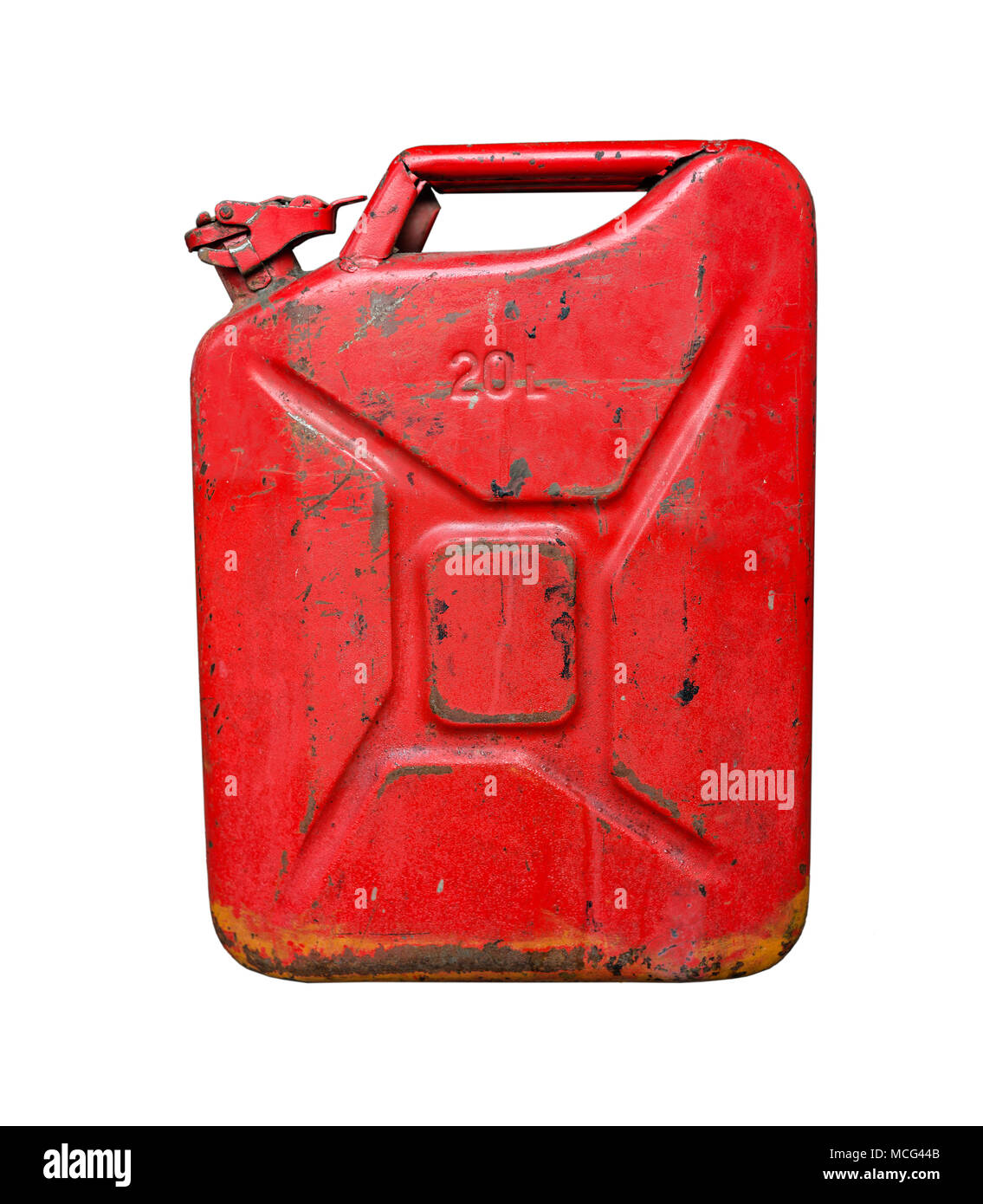 Old red metal fuel tank for transporting and storing petrol. Isolated  on a white background - Stock Image