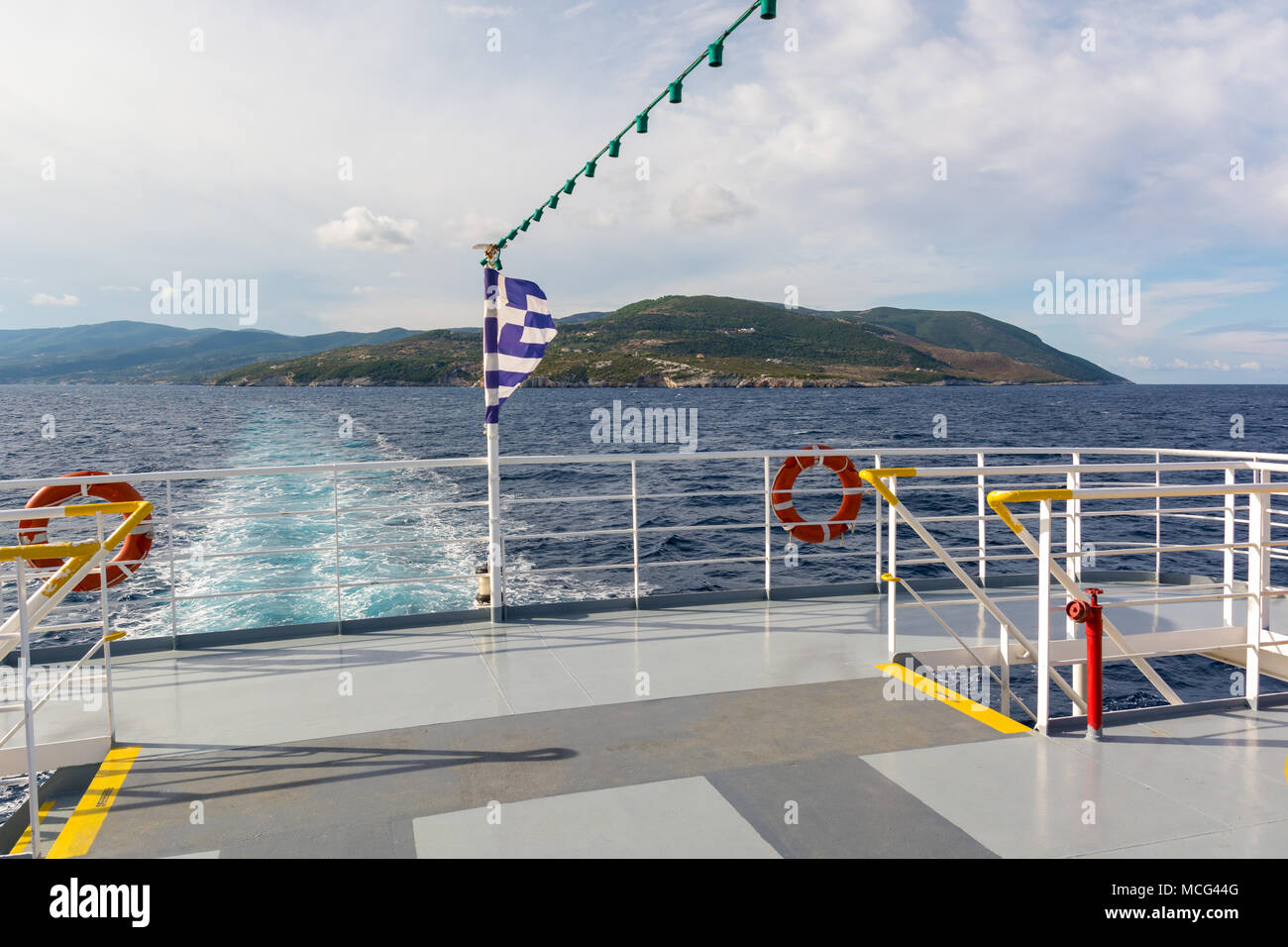 Open deck of a cruise ship in sunny summer day. Greece Stock Photo