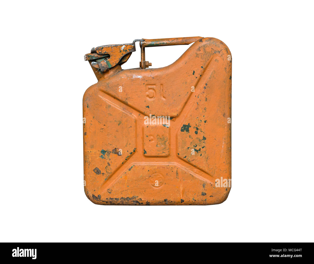 Old orange metal fuel tank for transporting and storing petrol. Isolated  on a white background - Stock Image