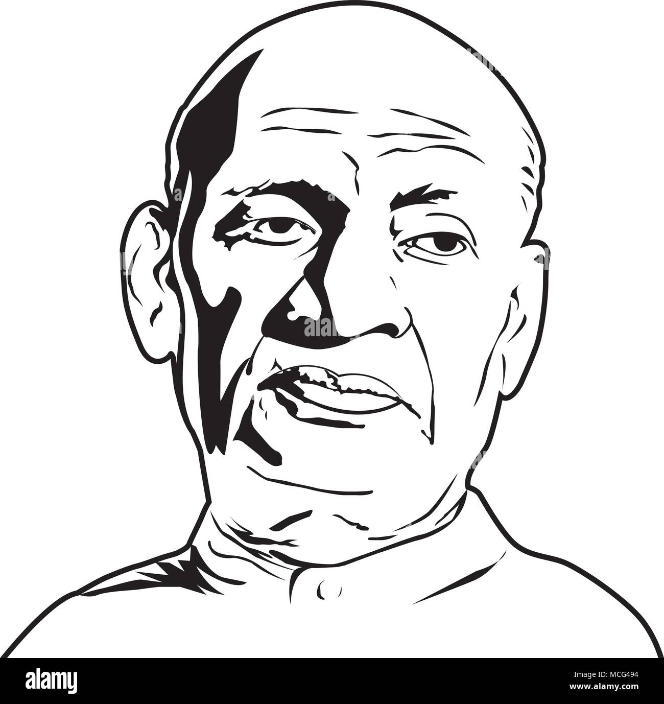 Sardar Patel,Vallabhbhai Patel ( 1875 – 1950), The first Deputy Prime Minister of India,Vallabhbhai Patel vector image. - Stock Image