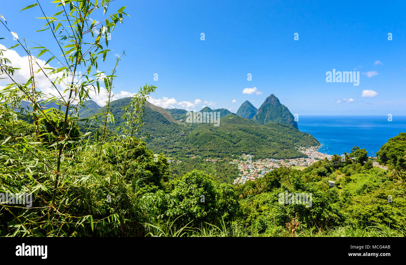 Gros and Petit Pitons near village Soufriere on Caribbean island St Lucia - tropical and paradise landscape scenery on Saint Lucia - Stock Image
