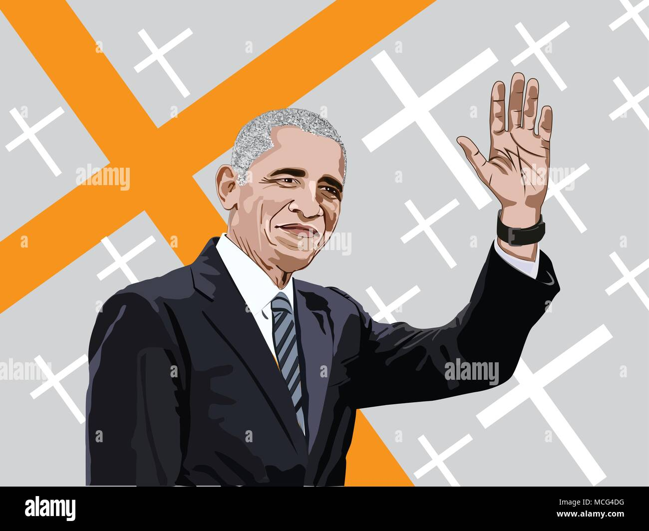 Barack Obama II is an American politician who served as the 44th President of the United States from 2009 to 2017. Obama vector image, - Stock Vector