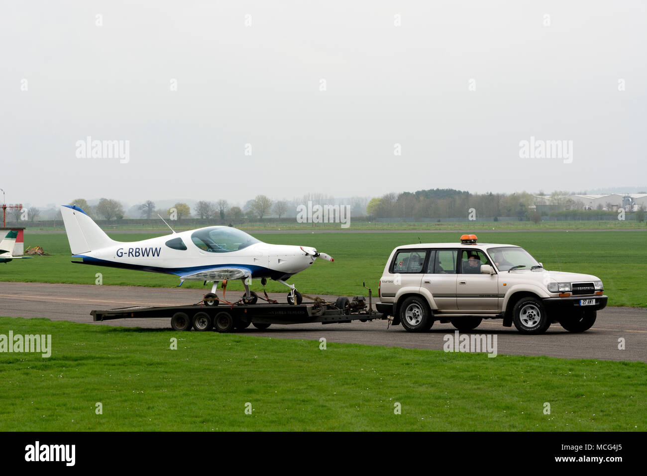 BRM Aero Bristell NG5 Speed Wing on a trailer at Wellesbourne Airfield, Warwickshire, UK (G-RBWW) - Stock Image